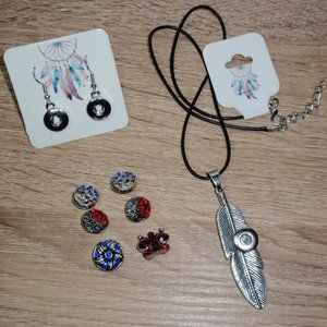 12mm Snap Jewelry Bundle Necklace Earrings 6 Snaps